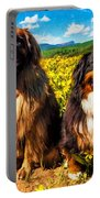 Bernese Mountain Dog And Leonberger Among Wildflowers Portable Battery Charger