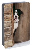 Bernese Mountain Dog At Log Cabin Door Portable Battery Charger