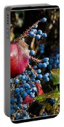 Berries And Red Leaves After The Rain Portable Battery Charger