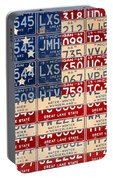 Betsy Ross American Flag Michigan License Plate Recycled Art On Red Board Portable Battery Charger by Design Turnpike