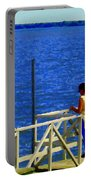 Between Sky And Sea Lachine Canal Viewing Pier Picturesque Water Scenes Montreal Art Carole Spandau Portable Battery Charger