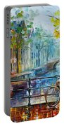 Bicycle In Amsterdam Portable Battery Charger by Leonid Afremov