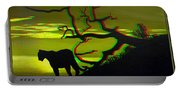Big Cat Silhouette -  Use Red-cyan 3d Glasses Portable Battery Charger