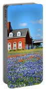 Big Red House On Bluebonnet Hill Portable Battery Charger