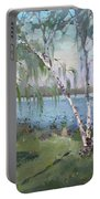 Birch Trees By The River Portable Battery Charger