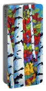 Birches In Abstract By Prankearts Portable Battery Charger by Richard T Pranke