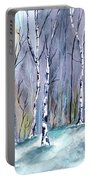 Birches In The Forest Portable Battery Charger