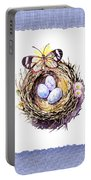Bird Nest With Daisies Eggs And Butterfly Portable Battery Charger
