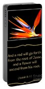 Bird Of Paradise Flower With Bible Quote From Isaiah Portable Battery Charger