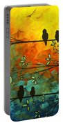 Birds Of A Feather Original Whimsical Painting Portable Battery Charger by Megan Duncanson