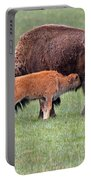 Bison Calf Having Breakfast In  Yellowstone National Park Portable Battery Charger