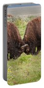 Bison Fight In Grand Teton National Park Portable Battery Charger