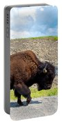 Bison Plodding Along On Alaska Highway-bc-canada Portable Battery Charger