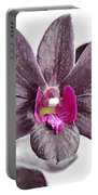 Black And Purple Orchid Portable Battery Charger