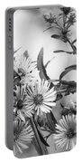 Black And White Asters Portable Battery Charger
