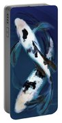 Black And White Bekkos In Deep Blue Pool Portable Battery Charger