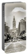 Black And White Benjamin Franklin Parkway Portable Battery Charger