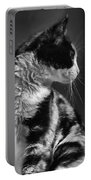 Black And White Cat In Profile  Portable Battery Charger