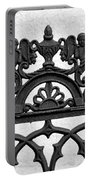 Black And White Ironwork Portable Battery Charger by Alys Caviness-Gober
