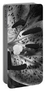 Black And White Lily Up Close Portable Battery Charger