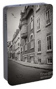Black And White Old Style Photo Of Old Quebec City Portable Battery Charger
