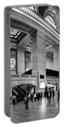 Black And White Pano Of Grand Central Station - Nyc Portable Battery Charger by David Smith