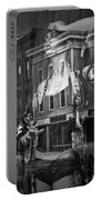 Black And White Photograph Of A Mannequin In Lingerie In Storefront Window Display  Portable Battery Charger