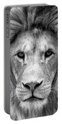 Black And White Portrait Of A Lion Portable Battery Charger