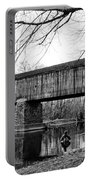 Black And White Schofield Ford Covered Bridge Portable Battery Charger