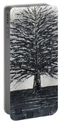 Black And White Snow Cold Winter Tree Portable Battery Charger