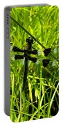 Black And White Winged Dragonfly Portable Battery Charger