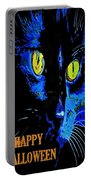 Black Cat Portrait With Happy Halloween Greeting  Portable Battery Charger