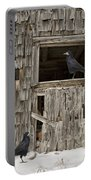 Black Crows At The Old Barn Portable Battery Charger