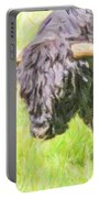 Black Highland Cattle Bull Portable Battery Charger