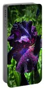 Black Iris After The Rain Portable Battery Charger