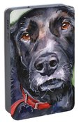 Black Lab In Watercolor Portable Battery Charger