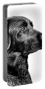Black Labrador Retriever Dog Monochrome Portable Battery Charger