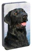 Black Labrador Retriever Dog Smile Portable Battery Charger