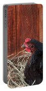 Black Laying Hen On Nest Art Prints Portable Battery Charger