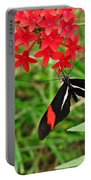 Black Red And White Butterfly Portable Battery Charger