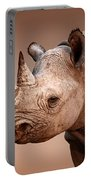 Black Rhinoceros Portrait Portable Battery Charger