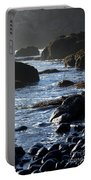 Black Rocks And Sea  Portable Battery Charger