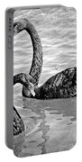 Black Swans - Black And White Textures Portable Battery Charger