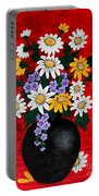 Black Vase With Daisies Portable Battery Charger