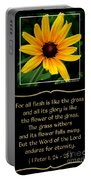 Blackeyed Susan With Bible Quote From 1 Peter Portable Battery Charger