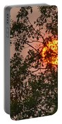 Blazing Sun Hiding Behind A Tree Portable Battery Charger
