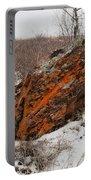 Bleak Winter Arctic Steppe Orange Lichens Rock Portable Battery Charger