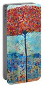 Blooming Beyond Known Skies - The Tree Of Life - Abstract Contemporary Original Oil Painting Portable Battery Charger by Ana Maria Edulescu