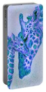 Blue And Aqua Giraffes Portable Battery Charger
