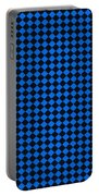 Blue And Black Checkered Pattern Cloth Background Portable Battery Charger
